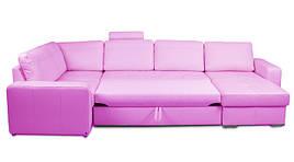 Кожаный угловой диван Филадельфия, не раскладной, фиолетовый