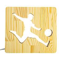 """Светильник ночник ArtEco Light из дерева LED """"Футболист с мячем"""" с пультом и регулировкой света, цвет теплый"""