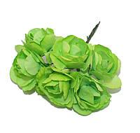 Цветы бумажные Салатовые 4 см на проволоке 6 шт/уп