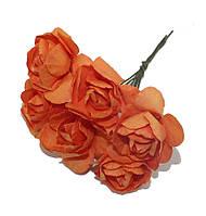 Цветы бумажные Оранжевые 4 см на проволоке 6 шт/уп