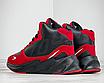 Кросівки чоловічі зимові високі на хутрі шкіра нубук на високій підошві чорно-червоного кольору, фото 3