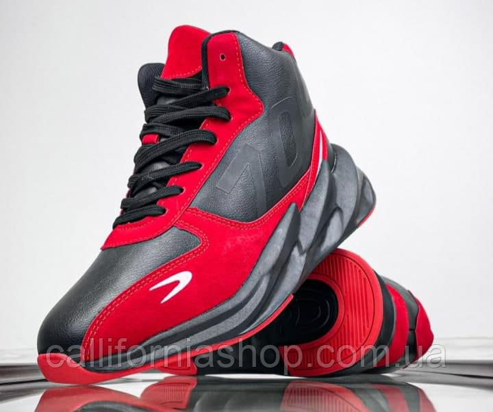 Кросівки чоловічі зимові високі на хутрі шкіра нубук на високій підошві чорно-червоного кольору