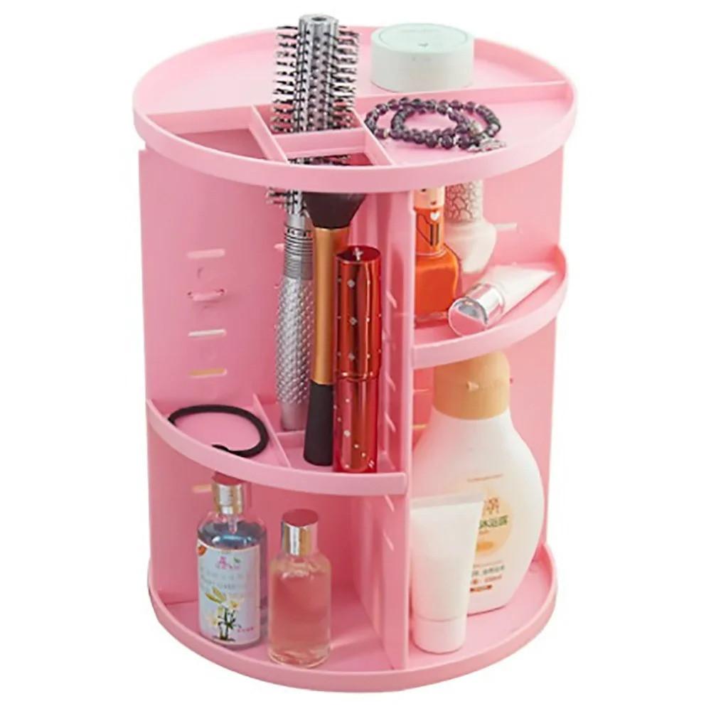 Подставка-органайзер для косметики поворотная, розовая