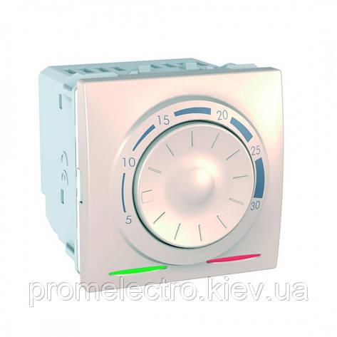 Терморегулятор для теплої підлоги 10А (від +5°С до +45°С, датчик в комплекті, Слонова кістка, Unica MGU3.503.25, фото 2