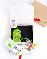 """Подарочный набор мужской. Футболка чёрная с принтом """"Android"""", носки белые с принтом """"Android"""""""