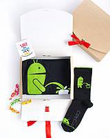 """Подарочный набор мужской. Футболка чёрная с принтом """"Android"""", носки чёрные с принтом """"Android"""""""