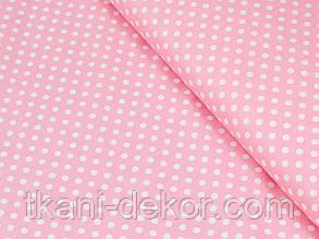 Сатин (хлопковая ткань) белый горох на розовом (95*160)