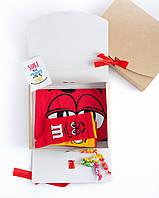 """Подарочный набор мужской. Футболка красная с принтом """"M&M's"""", носки с принтом """"M&M's"""""""