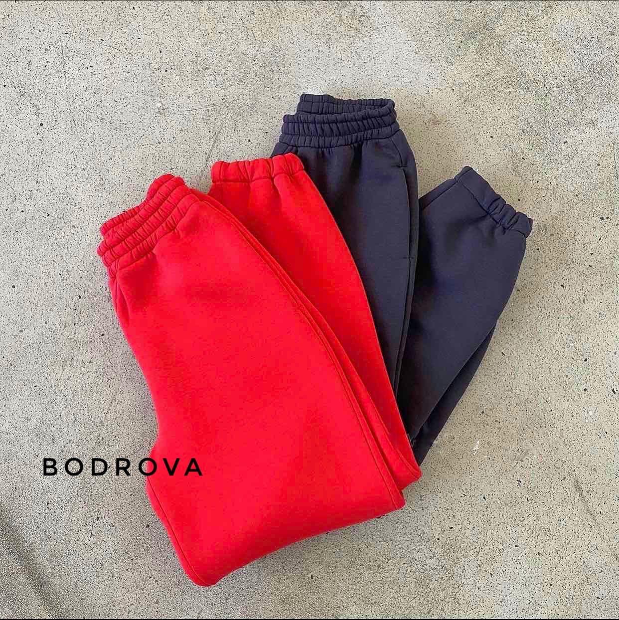 Женские штаны, трехнитка на флисе, р-р универсальный 42-46 (красный)