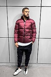 Чоловіча зимова куртка стильна (бордова) модна на новий сезон АКА5012