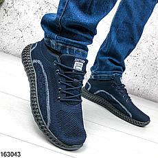 Кроссовки мужские Fly синие из обувного текстиля, на шнурках | Мокасины мужские комфорт, фото 3