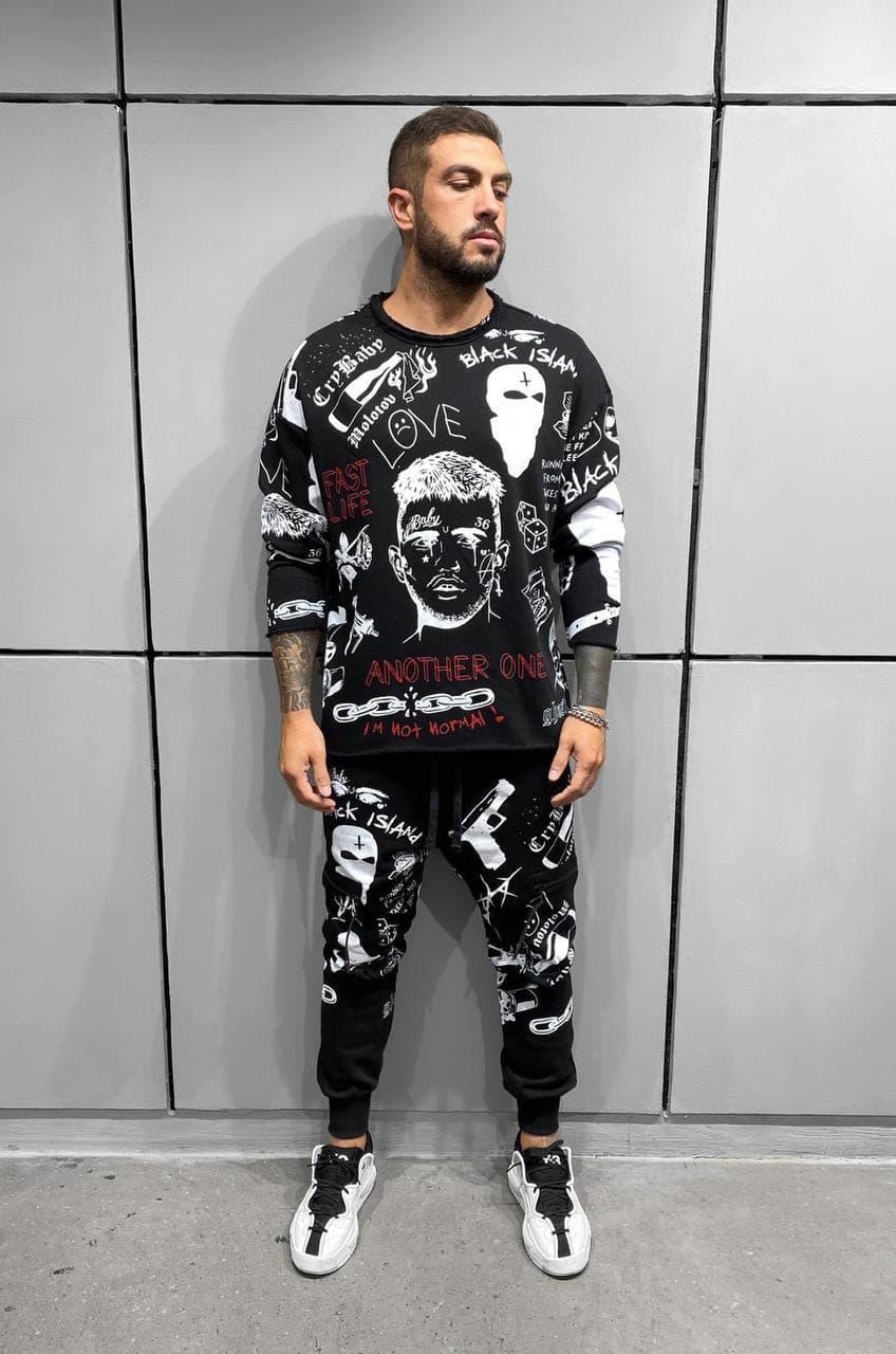 Мужской спортивный костюм штаны + свитшот с принтом и надписями (черный) ada1307 молодежная качественная