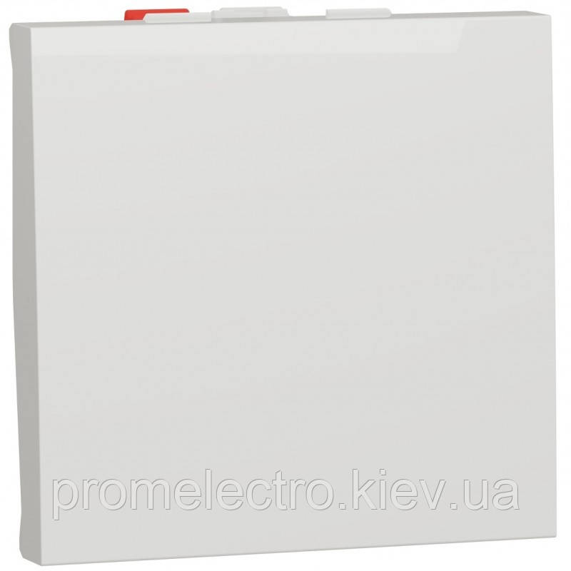 Перемикач 1-клавішний прохідний, 10А, 2 модуля, білий, Unica NEW NU320318