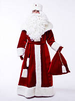 Красный костюм Деда Мороза из велюра