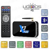 Смарт ТВ приставка Ugoos X3 PLUS 4/64 Гб Android Smart TV Box Андроїд ТВ бокс