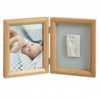 Двойная рамочка с отпечатком Baby Art, цвет натуральный