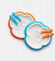 Детская тарелка, ложка и вилка BabyBjorn, цвет Orange/Turquoise