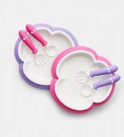 Детская тарелка, ложка и вилка BabyBjorn, цвет Pink/Purple