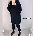 Жіночий костюм, трехнитка на флісі, р-р універсальний 42-46 (чорний), фото 2