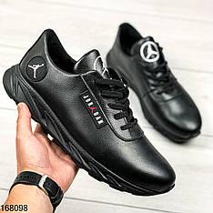 Кроссовки мужские Michael черные на шнурках | Натуральная кожа | Спортивные туфли осенние