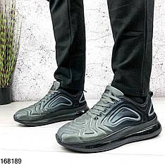 Кроссовки мужские  Air серые с черной подошвой на шнурках | Материал неопрен| Осень весна | Видео обзор