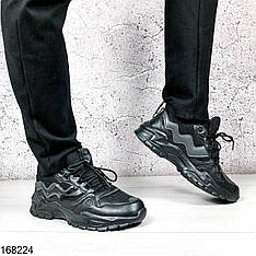 Кроссовки мужские Ezekiel черные на шнурках | Эко кожа + текстиль | Осень весна | Видео обзор