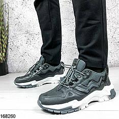 Кроссовки мужские Ezekiel серые на шнурках | Эко кожа + текстиль | Осень весна | Видео обзор