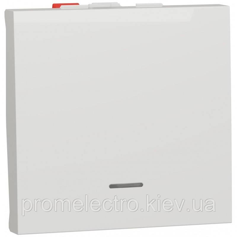 Перемикач 1-клавішний прохідний з підсвіткою, 10А, 2 модуля, білий, Unica NEW NU320318S