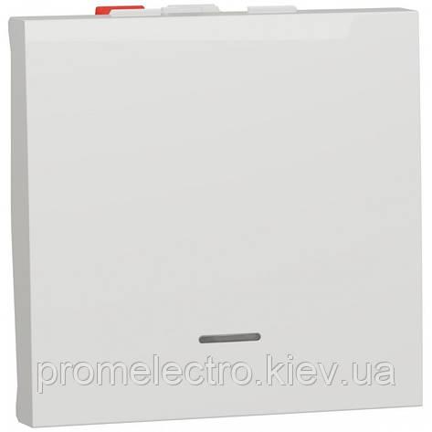 Перемикач 1-клавішний прохідний з підсвіткою, 10А, 2 модуля, білий, Unica NEW NU320318S, фото 2