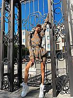 Костюм женский в клетку приталенный пиджак под пояс и юбка карандаш Km1346
