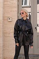 Сорочка жіноча стильна з еко шкіри вільного крою з поясом і накладними кишенями Rslip783