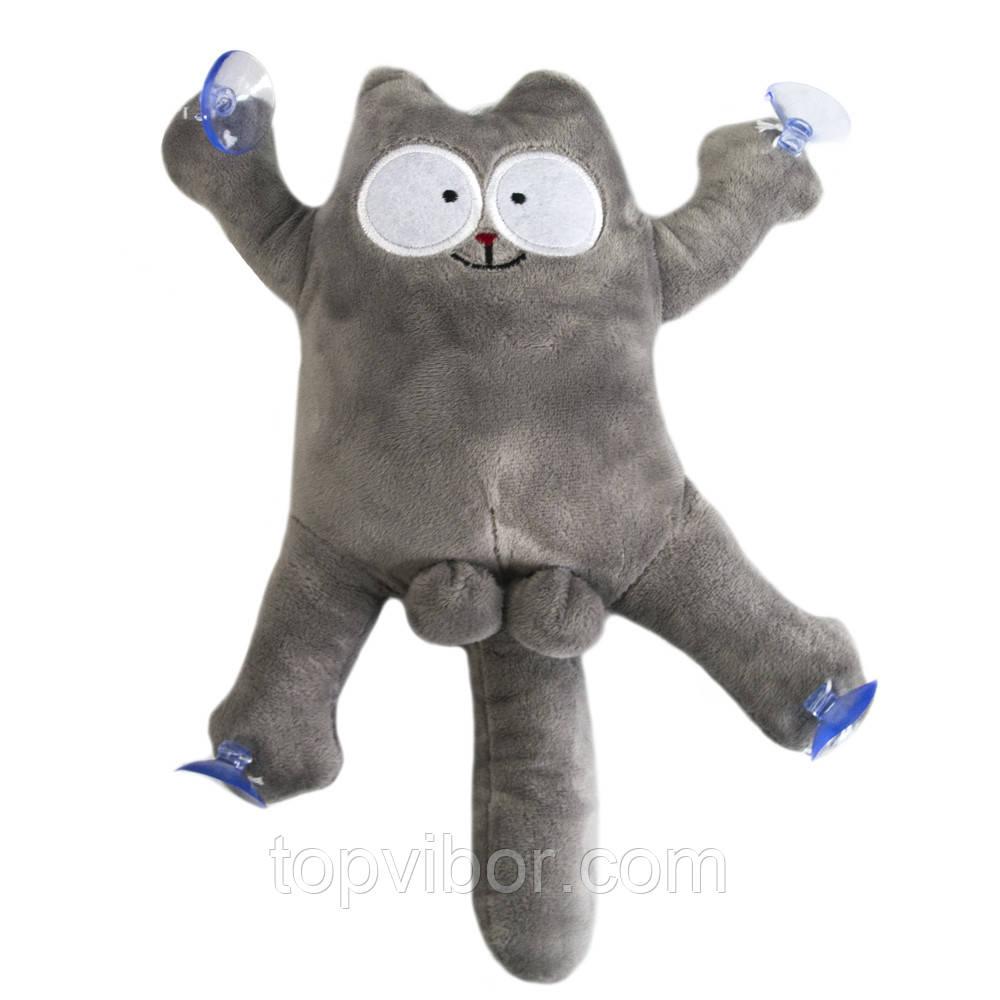 """""""Саймон Кіт"""" м'яка іграшка в машину кіт з яйцями, Сірий, котики на присосках в авто   іграшка кіт"""