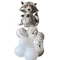 Композиции из воздушных шаров на день рождения с фольгированной фигурой Енот