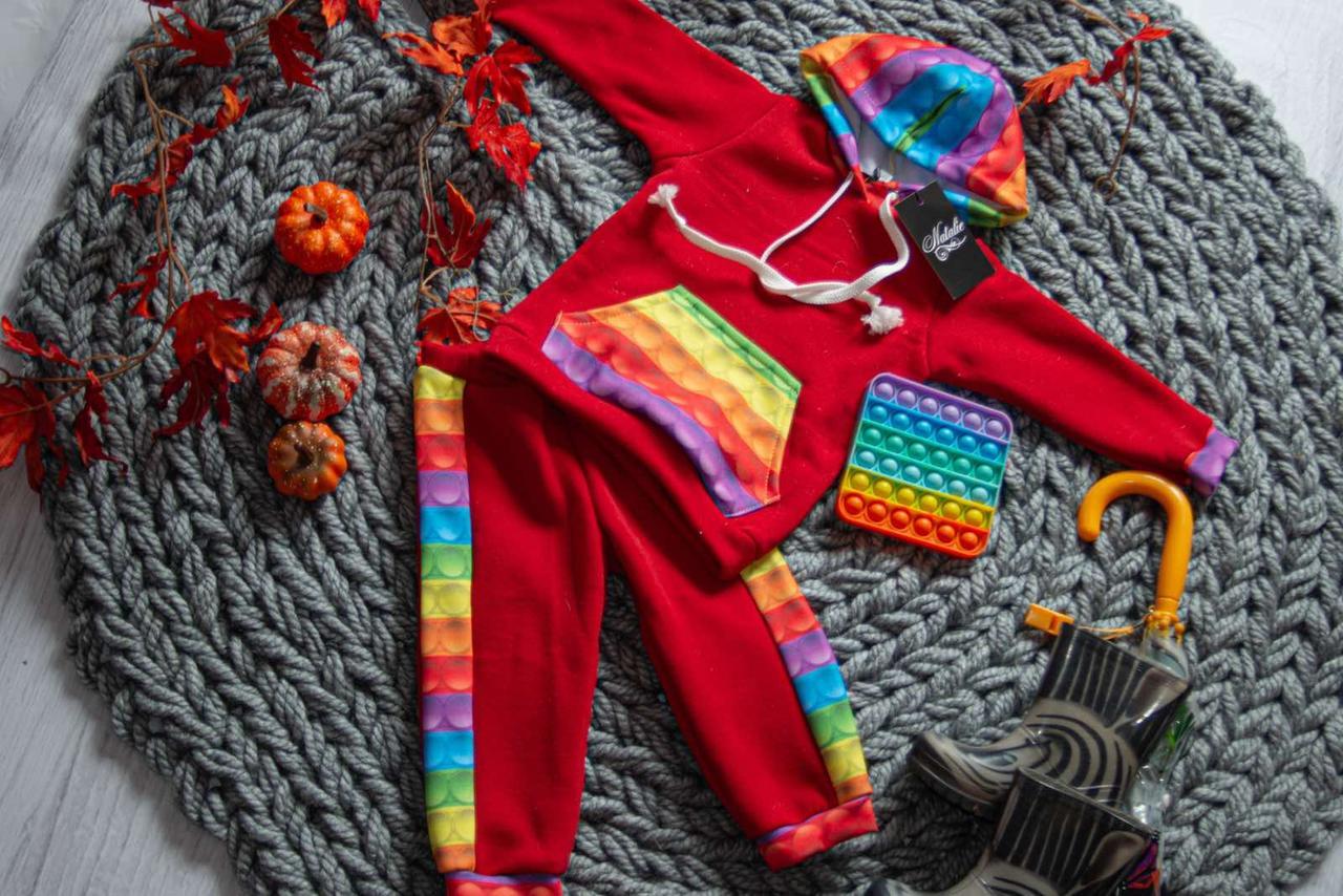 Теплый спортивный костюм для девочки с принтом поп ит 80-134р