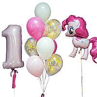 Шары на детский день рождения с фольгированной фигурой Пинки Пай