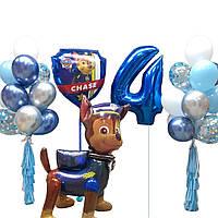 Композиция из шаров на день рождения, цифры из фольги и ходячая фигура щенячий патруль