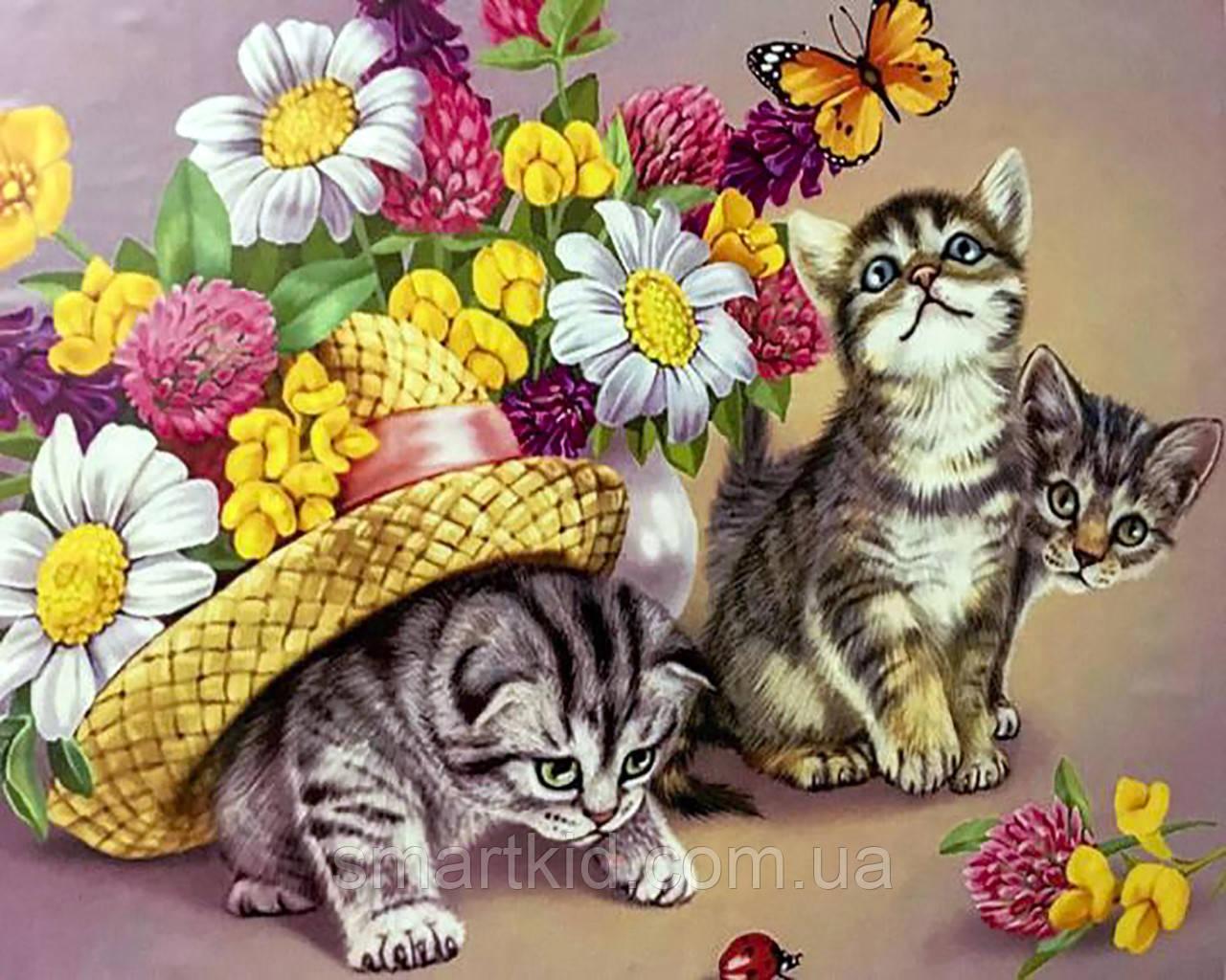 Картина по номерам 40х50 Кошенята і метелики PH9327