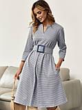 Сукня-трапеція в клітку з поясом в комплекті, фото 2