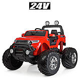 Дитячий електромобіль на акумуляторі Jeep M 4273 для дітей 3-8 років червоний, фото 7