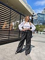 Штани-палаццо жіночі трендові вільні з костюмної тканини Bl176