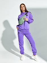 Фіолетовий утеплений флисом жіночий спортивний костюм з капюшоном