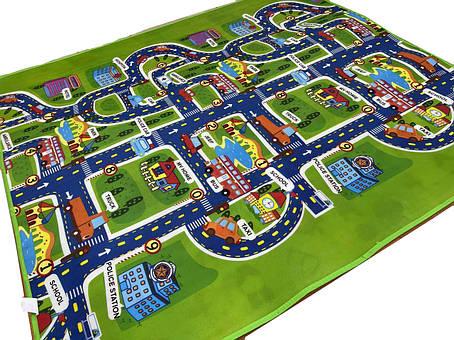 Дитячий двосторонній килимок дороги/звірі EPE 200*180*0,5 мм, фото 2