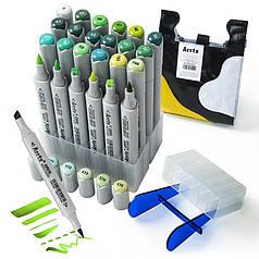 Спиртовые маркеры Arrtx OROS ASM-03GN 24 цвета, зеленые оттенки