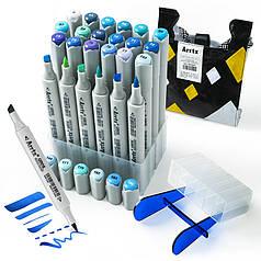 Спиртовые маркеры Arrtx OROS ASM-03BU 24 цвета, синие оттенки