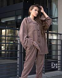 Женский костюм двойка брюки+рубашка цвета мокко