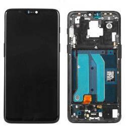 Дисплей OnePlus 7 с тачскрином черный в синей рамке Amoled