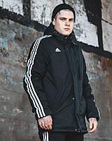 Куртка демисезонная мужская Adidas черная ветровка удлиненная с капюшоном и лампасами осень/весна