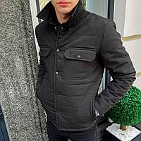 """Pobedov Jacket""""IPO""""Мужская куртка рубашка короткая черная с воротником на кнопках весна/осень ветровка жакет"""