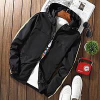 Мужская короткая куртка черная с капюшоном и лампасами осень/весна.Мужская ветровка демисезонная