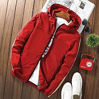 Мужская короткая куртка красная с капюшоном и лампасами осень/весна.Мужская ветровка демисезонная